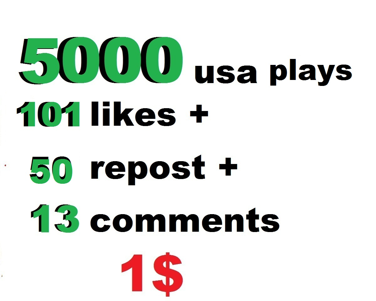 5000 usa plays 150 likes 50 repost and 13 comments