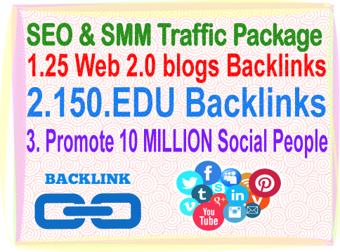 SEO & SMM Traffic Package -25 Web 2.0 Blogs Backlinks- 150. edu Backlinks- Promotion 10 Million social people