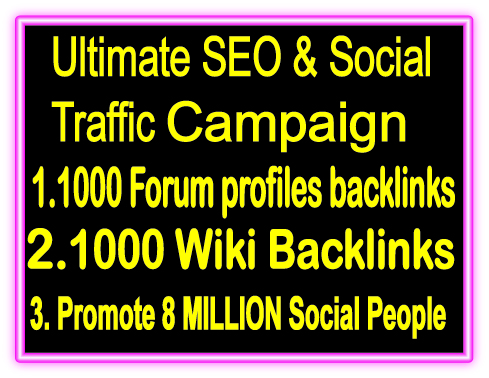Top Popular SEO & SMM Package on SeoClerks- 1000 Forum Profiles Backlinks- 1000 Wiki Backlinks -Promote 8 Million Social People