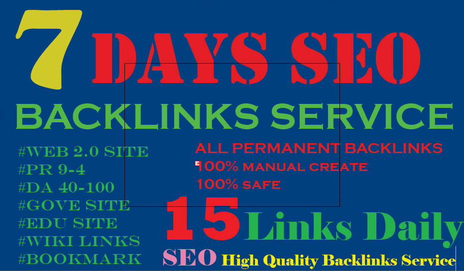 7 Days PERFECT SEO Backlinks Service EVERY DAY NEW ba...