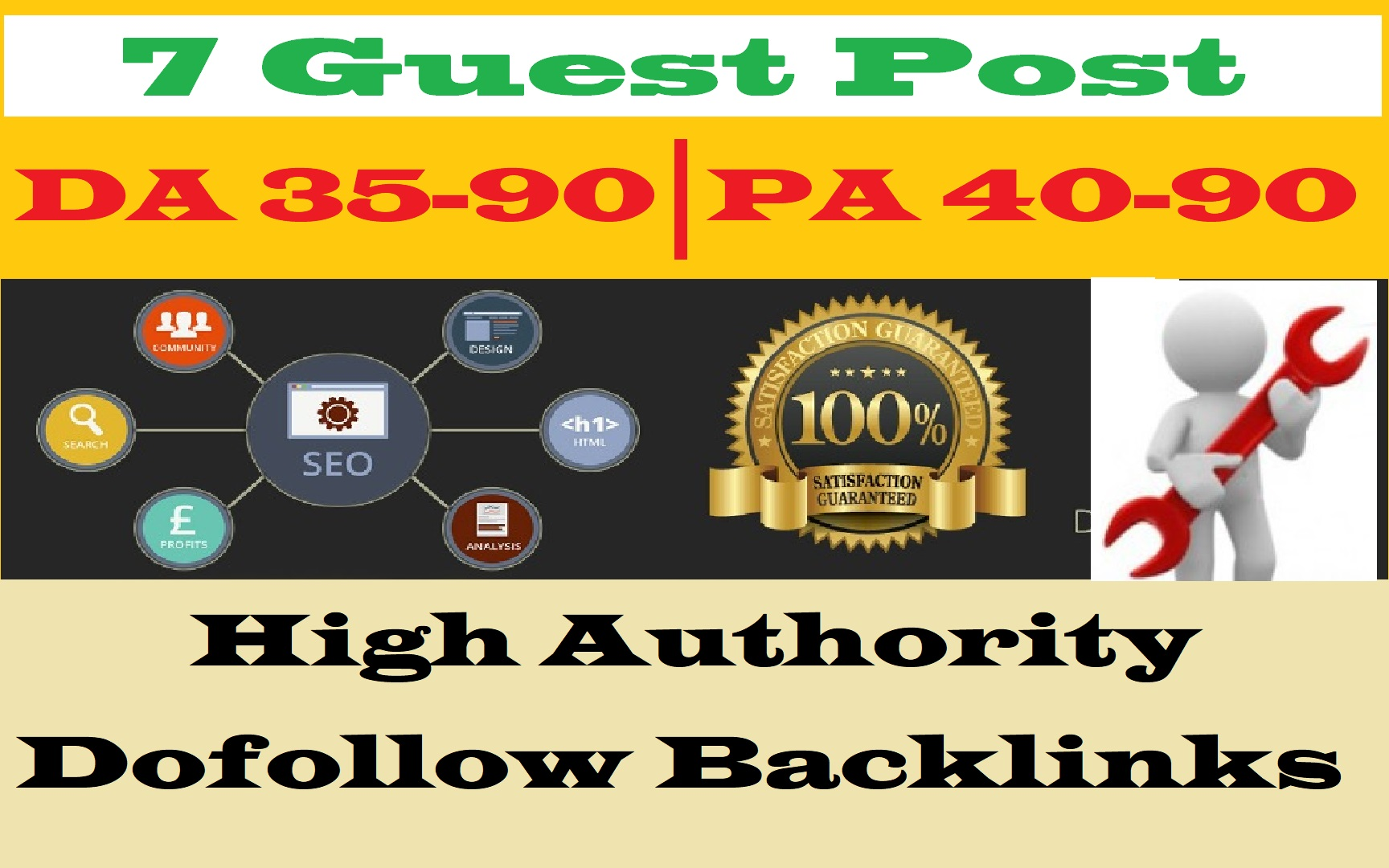 Free Offer - Write and Publish 7 Dofollow Guest Post DA 35-90 High Backlink