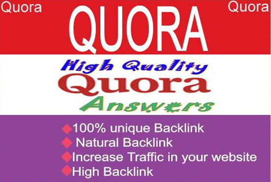 20 Quora backlinks with unique answers from top writer account.