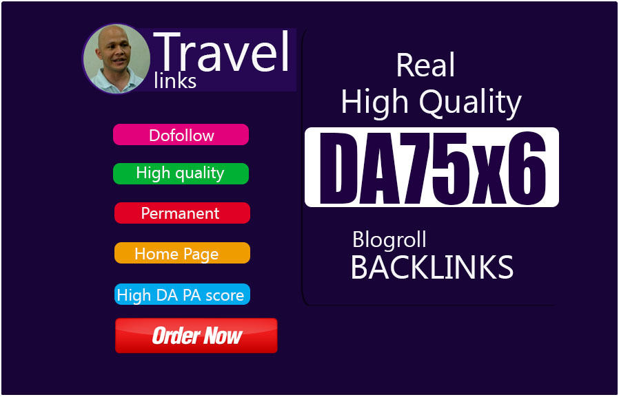 Give Link DA75x6 Travel Site Blogroll Permanent