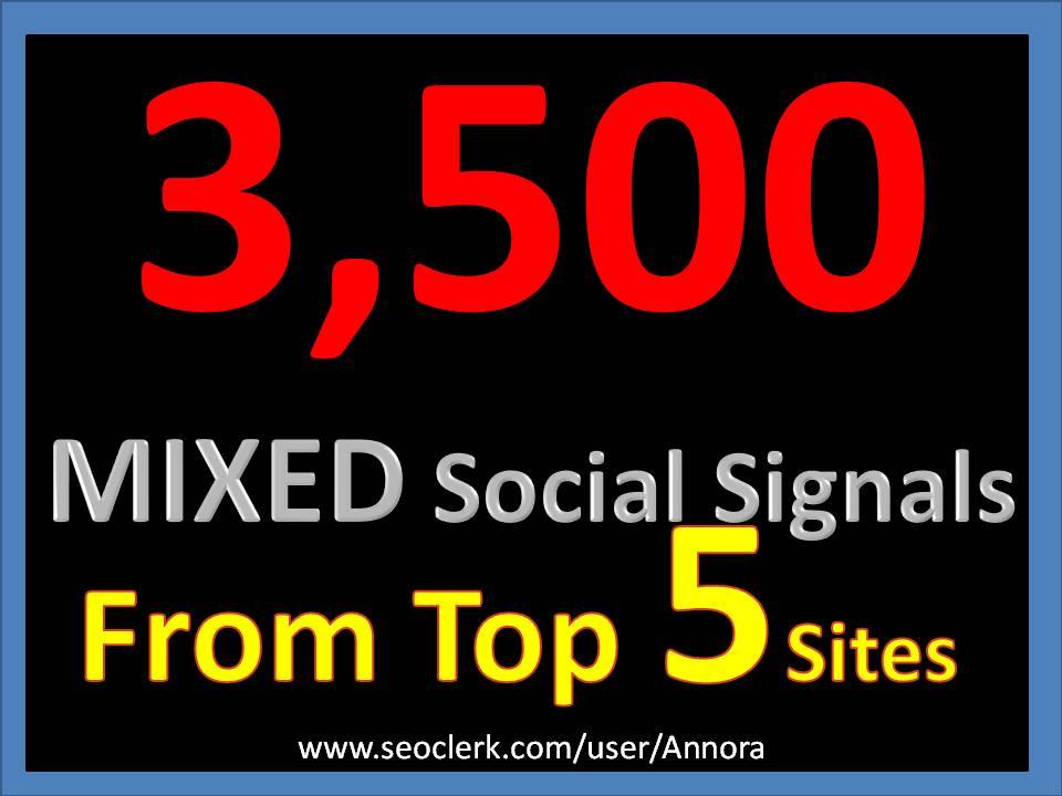 3500 Social Signals Come From Top 5 Social Media Sites PR9 Pinterest Google Plus Social Bookmark