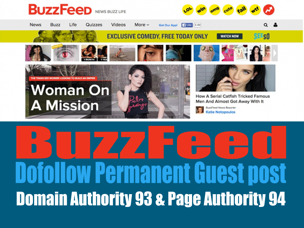 Publish a High Quality Article on WorldClass BuzzFeed News Guest post with Dofollow Backlinks DA93