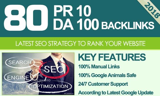 Do 80 Unique Pr10 SEO Backlinks On Da100 Sites
