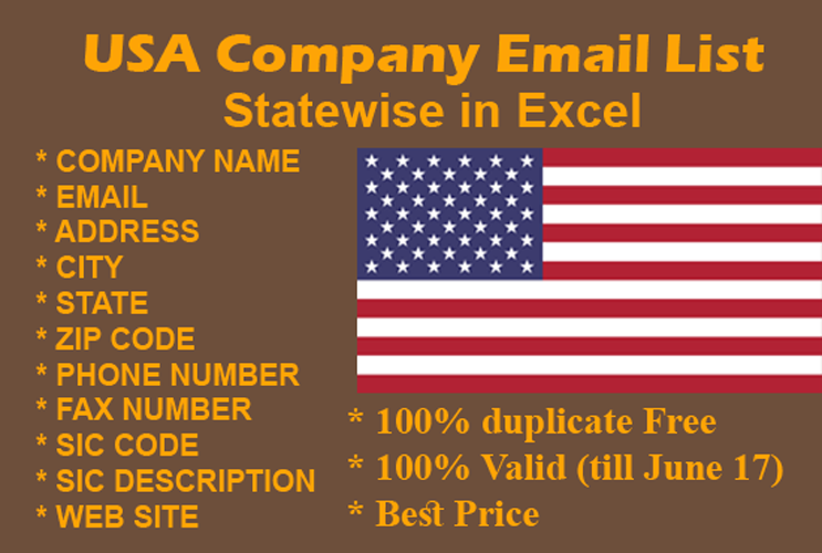 Give The USA Company Email List 2018 Updated single state