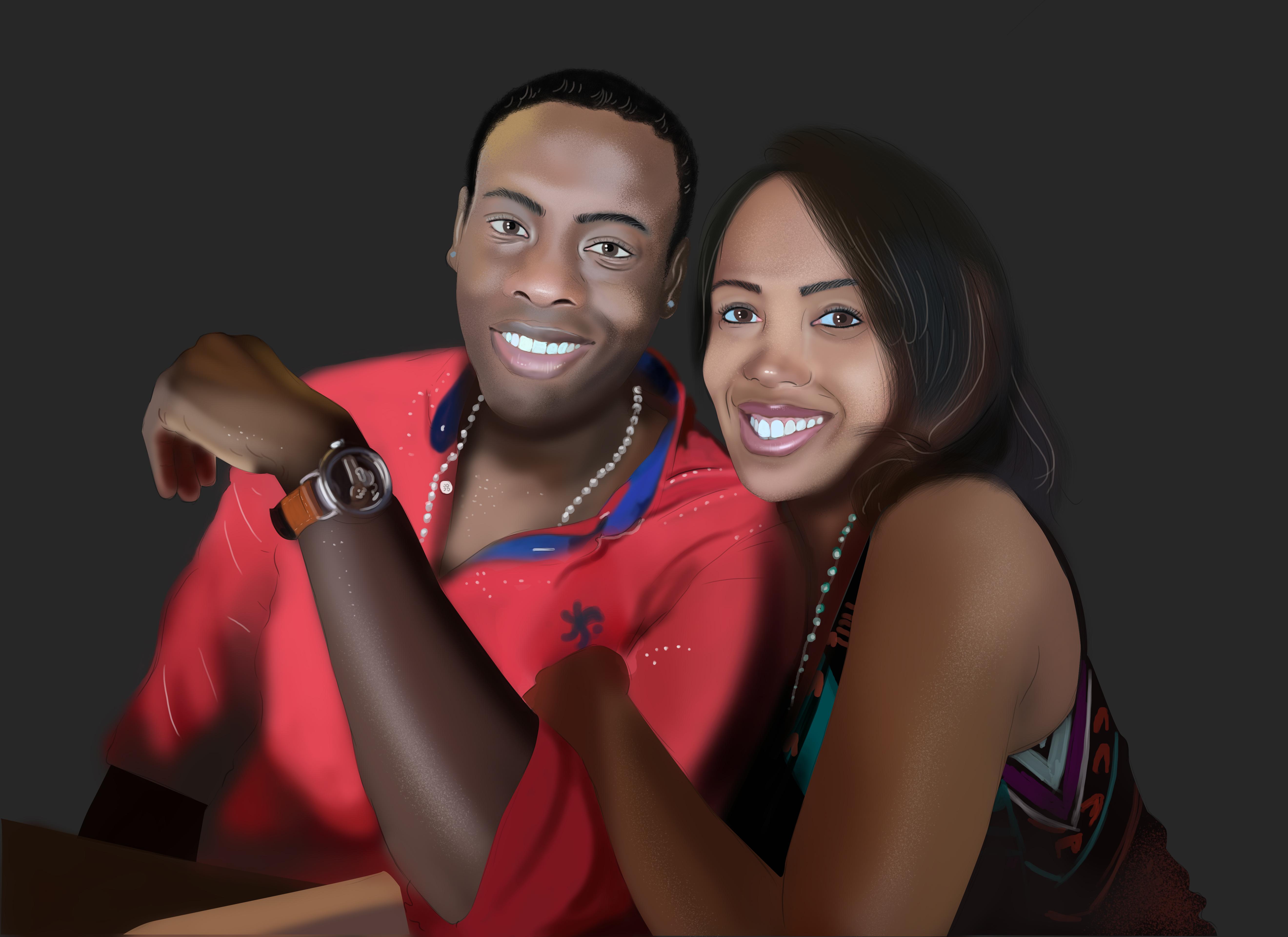 make a realistic digital portrait for gift