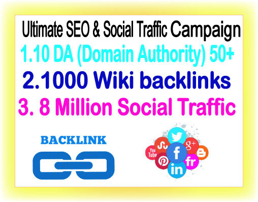 Google Safe SEO & Traffic campaign- Promote 8 Million Social Members- 10 DA Backlinks-1000 Wiki Backlinks