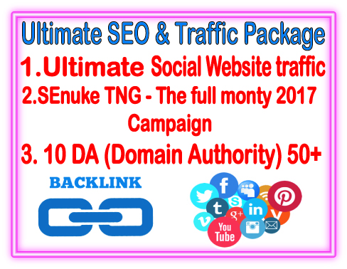 White hat SEO & Traffic Package-  SEnuke TNG- The Full monty- 10 DA backlinks - Unlimited Social website Traffic
