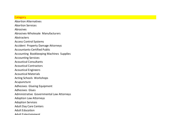 1 Million USA New Business Database