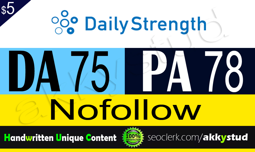 "write and publish unique guest post on ""Dailystrength"" DA-75"