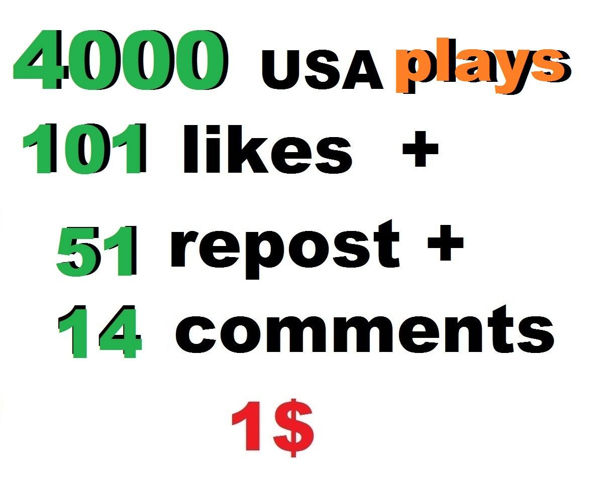 i will promote your track and you will get more than 4000 usa plays and 100 likes 50 repost 10 comments