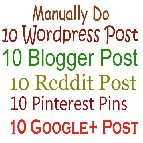 Powerful  SEO Package Manually Do 10 Wordpress 10 Blogger 10 Reddit 10 Pinterest 10 Google+ Post