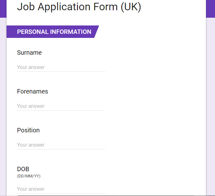 Job Application Form Uk For 75 Seoclerks