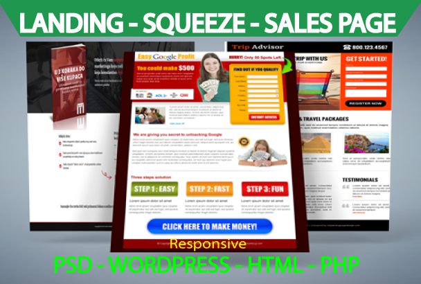 I will design a superb landing page or squeeze page