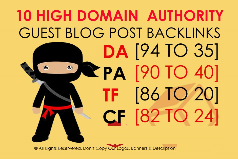 Write and Publish 10 X High Authority Guest Post DA 95-35