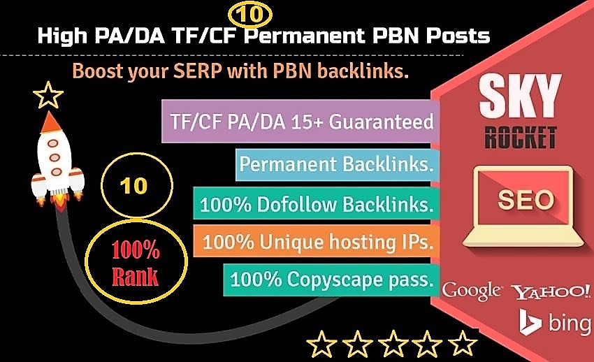 Get Fast Manually 10 High PA/DA TF/CF Homepage PBN Backlinks