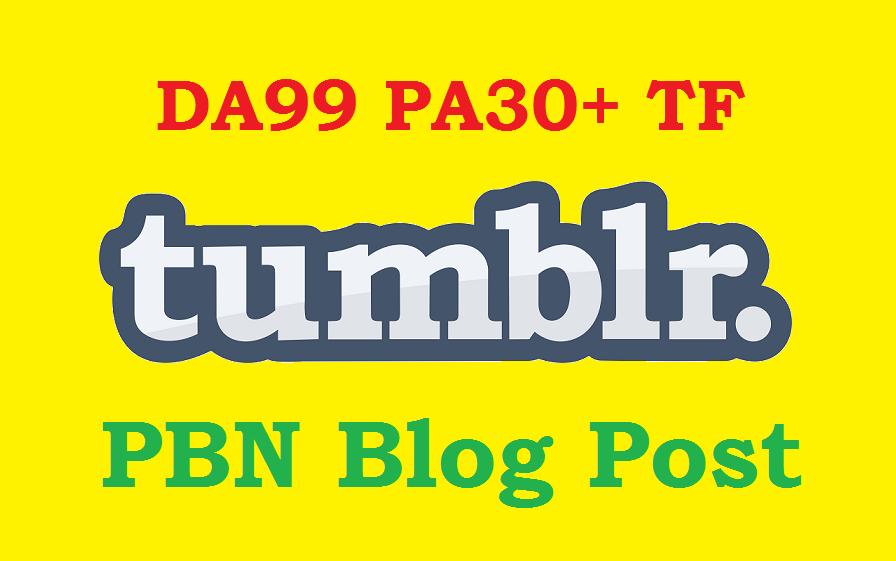 Permanent 125+ Tumblr PBN blog posts DA99+ and PA28+