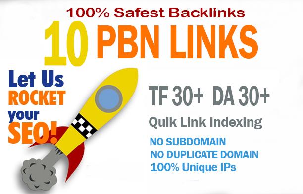 10 Manual HIGH DA PA 30+ to 10 Dofollow PBN Backlinks