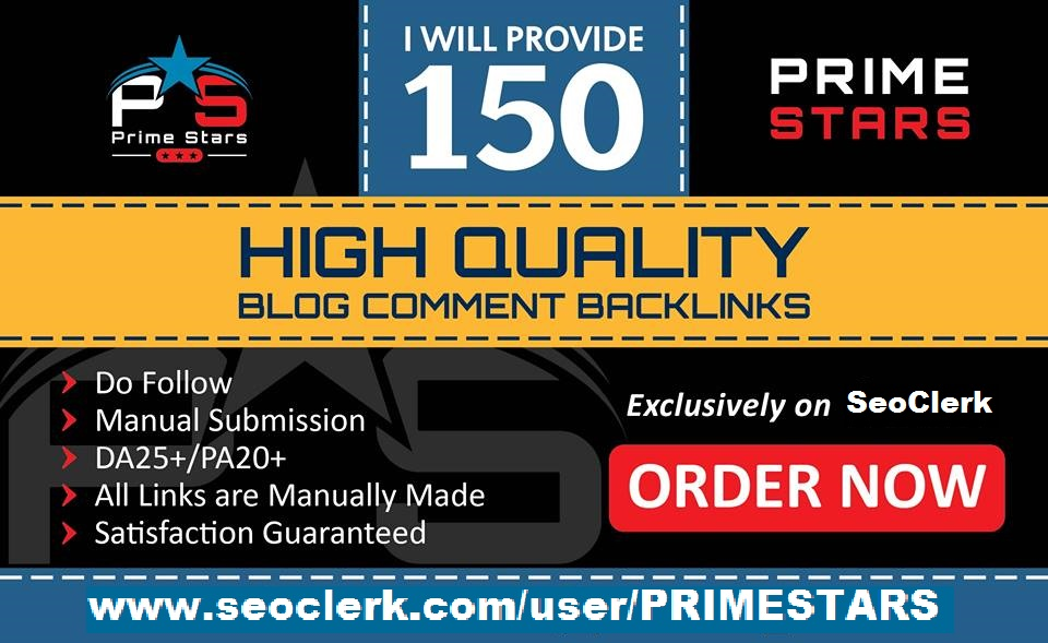 I can do 150 Dofollow Blog Comment Back Links Low Obl Da30+ Pa20+