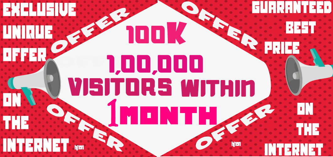 Get 100k 100000 Visitors Traffic Within 1 Month