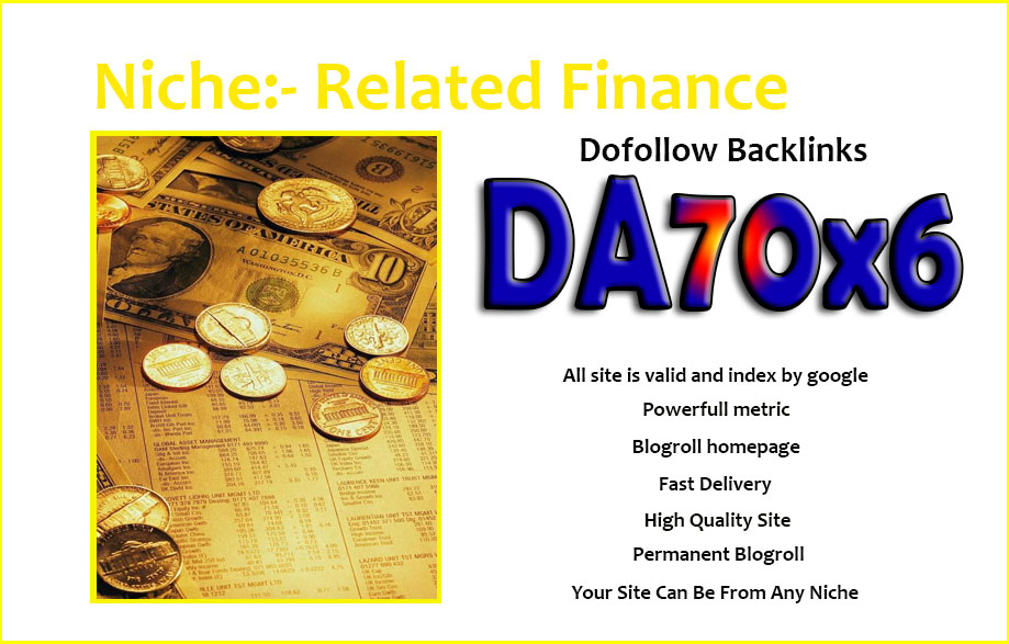 give your backlink DA70x6 Finance site blogroll dofollow