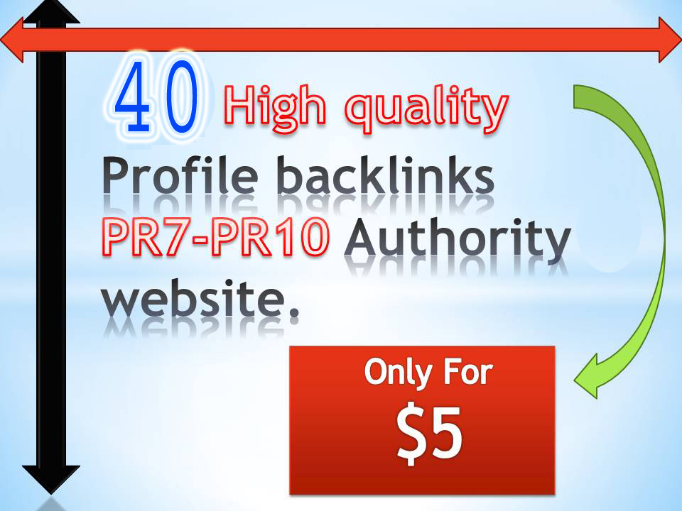 Create 40 High quality Profile backlinks PR7-PR10 Authority website