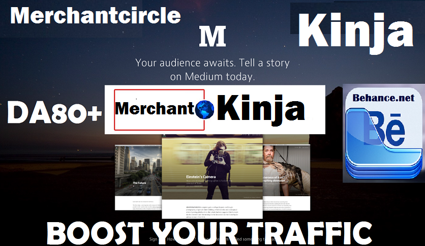 write and post on Merchantcircle. com and Kinja and Behance. net DA80+ Blog