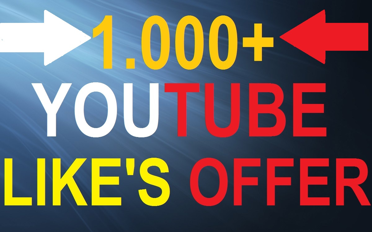 Get 1.000 High Quality Non Drop You-Tube Video L-ikes INSTANT Start Only
