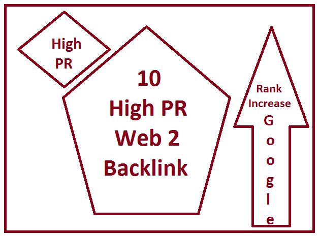 10 High PR web 2 backlink for google rank