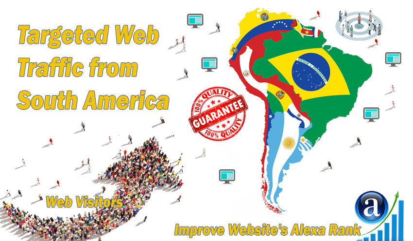 Send 25000 South America web visitors real targeted geo traffic