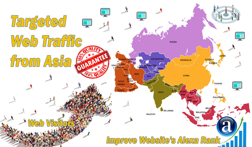 Send 20.000 Asia web visitors real targeted geo traffic