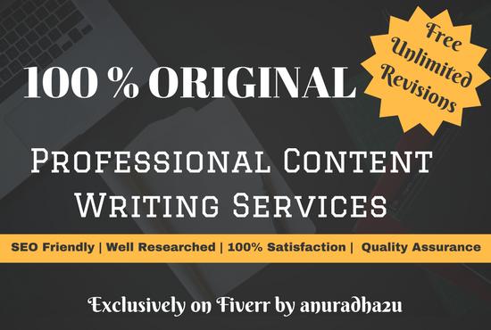 100 Original & Professional Content Writing Services
