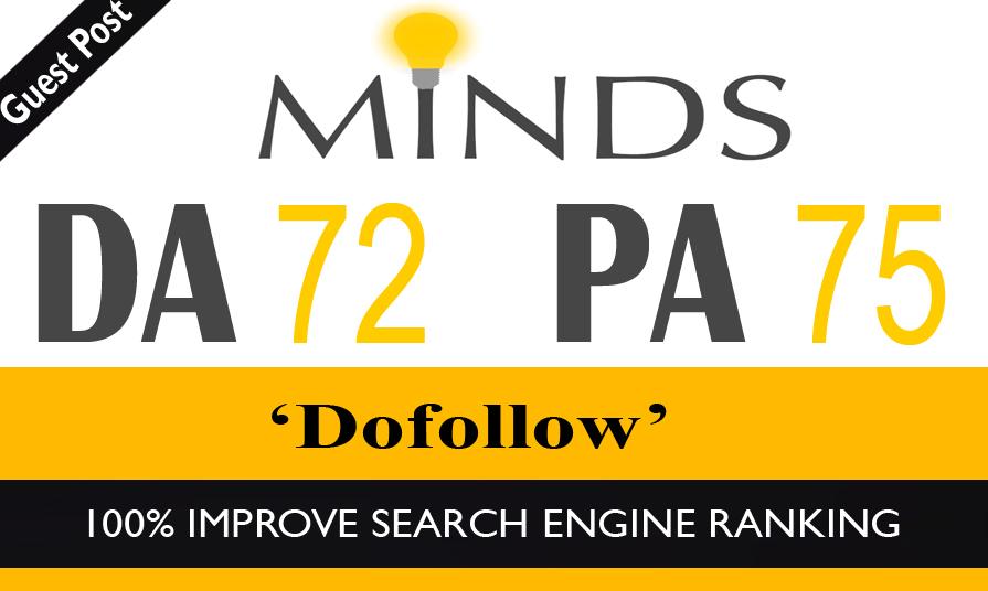 High Authority Do-Follow Guest Post on Minds DA-72