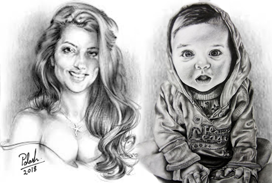 Draw your Realistic Portrait With the Pencil Sketch By Hand Drawn