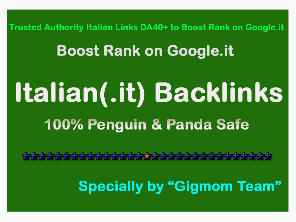 Trusted 20 Dofollow Italian Links DA40+ to Page Rank 1 on Google.it
