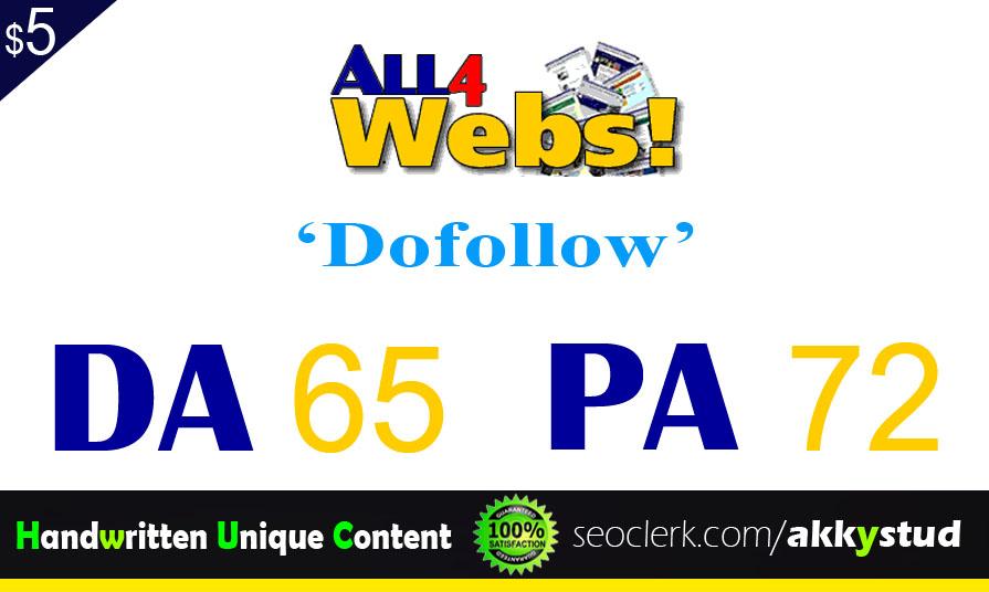 "I will publish UNIQUE guest post on ""All4Webs"" DA-65"