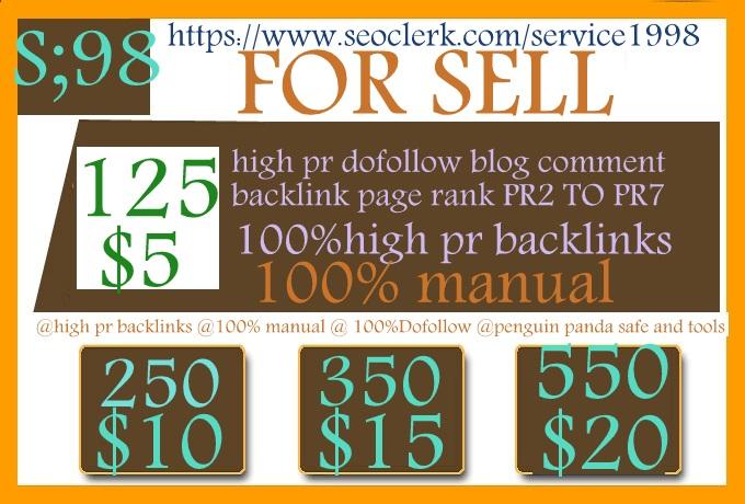 Do 125 SEO Blog Commenting Unique Backlinks Pr2 to Pr7 for $5
