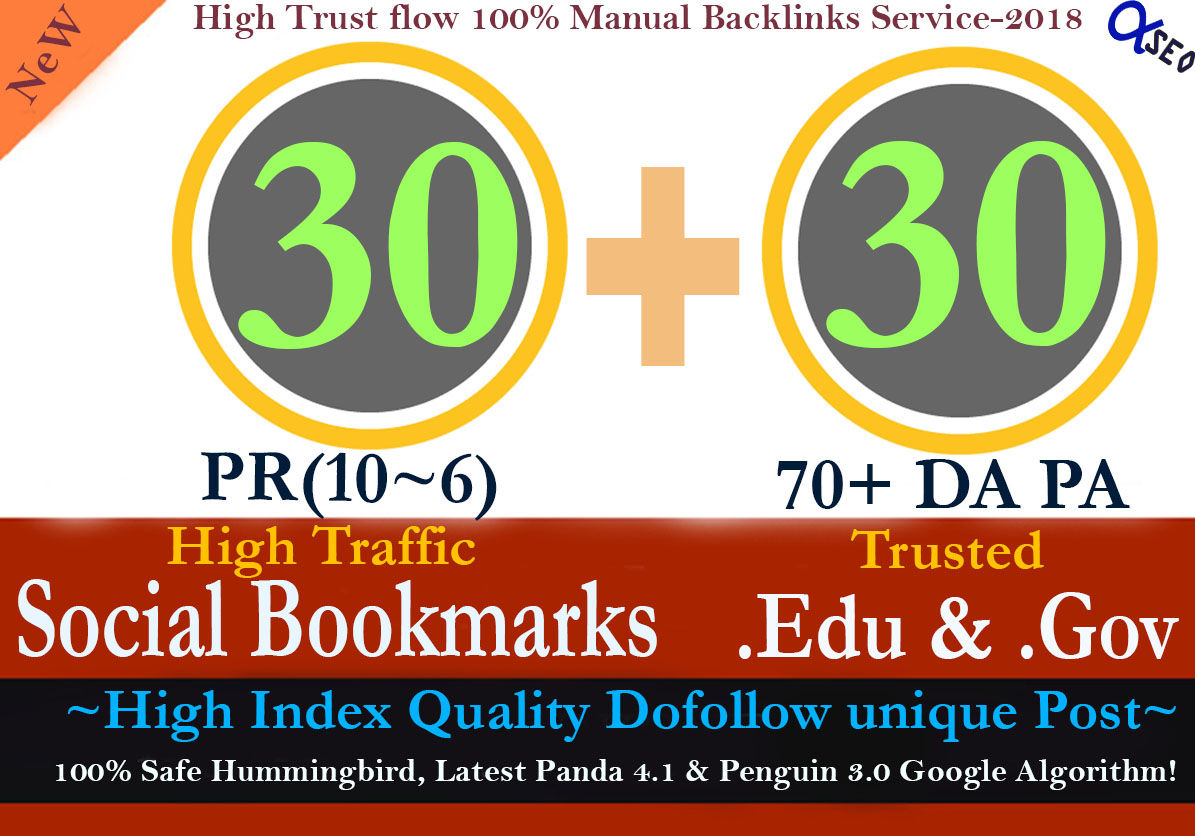 Manually Build 60 of the pr10-6 Social Bookmarking and 70+DA Edu & Gov Backlinks to Boost Your SEO Rank