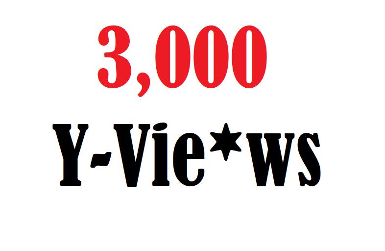 3,000  High Quality u Tube Vi-e-ws fully safe
