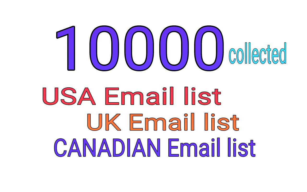 100k Collected latest email list of USA,UK and CANADA with sending method.