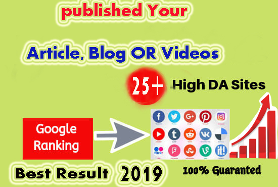 Promote Your Newly Published Article, Blog, videos OR website On 25+ High DA PA site Best Result 2019
