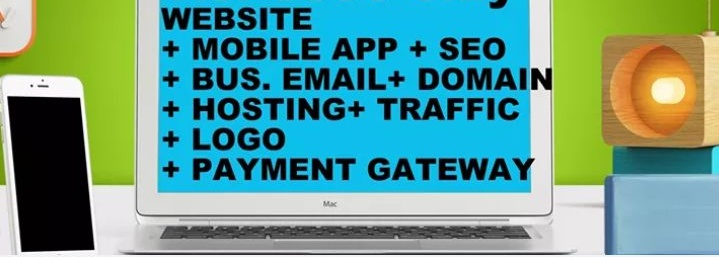 Website development + mobile app + seo + free traffic + domain + hosting