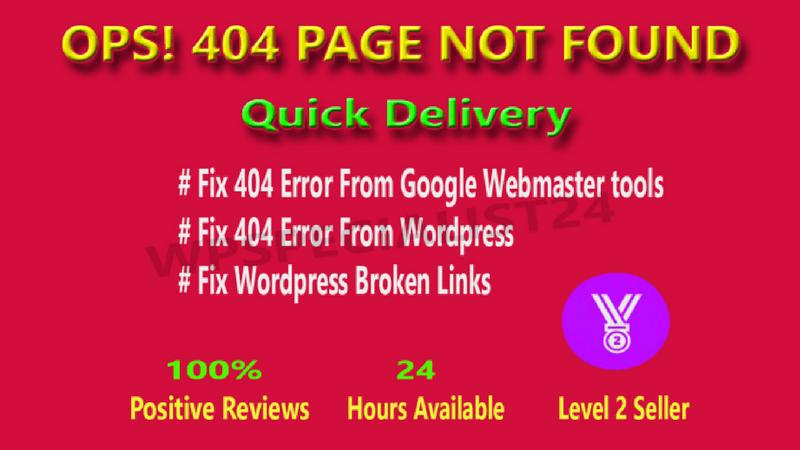 I will fix 404 error and broken links