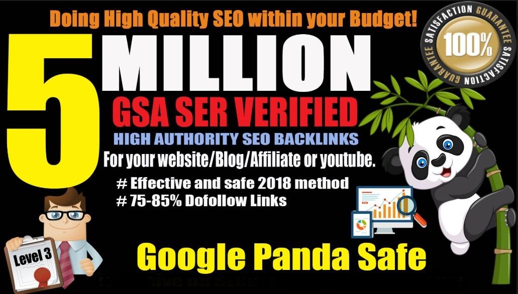 5 Million GSA SER Backlinks For Increase Link Juice and Faster Index on Google