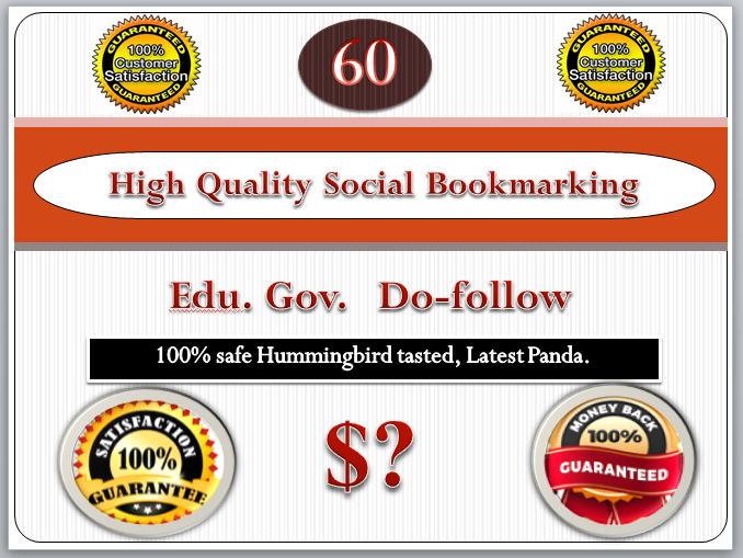 60 High quality social bookmarking PR7-PR10 do-follow,  seo on your site