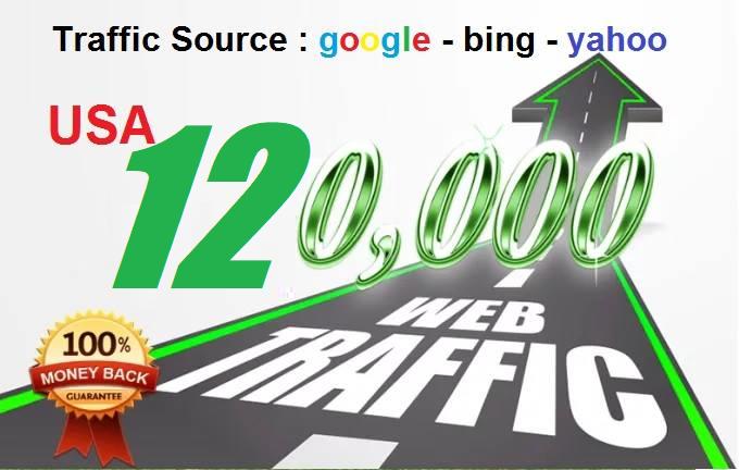 120,000 Keyword Targeted Organic Website Traffic usa By Google Yahoo Bing