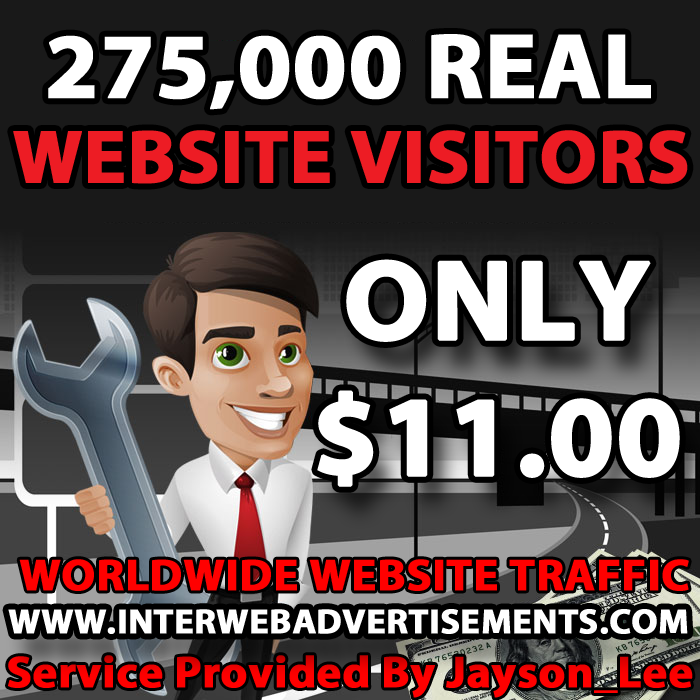 275K Web Traffic To Your Website, Blog or Affiliate Link