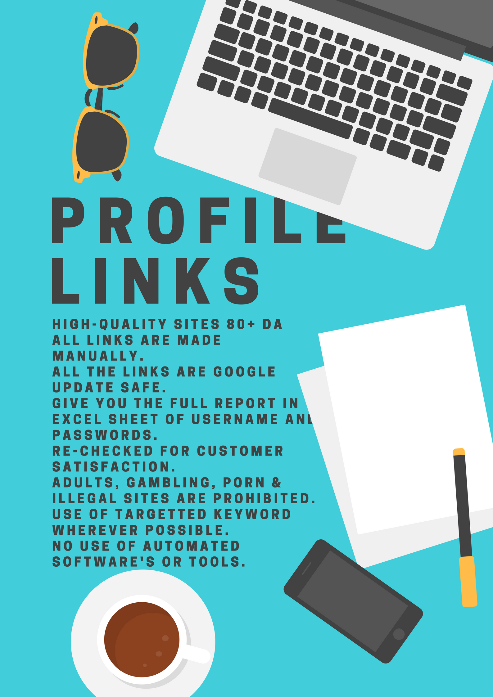 Build Manual 50 Profile Backlinks From High Quality Sites Of 80 Plus Da